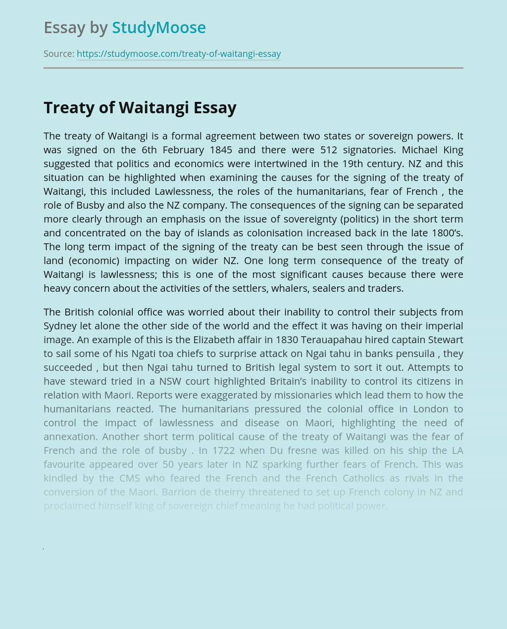 The Treaty of Waitangi