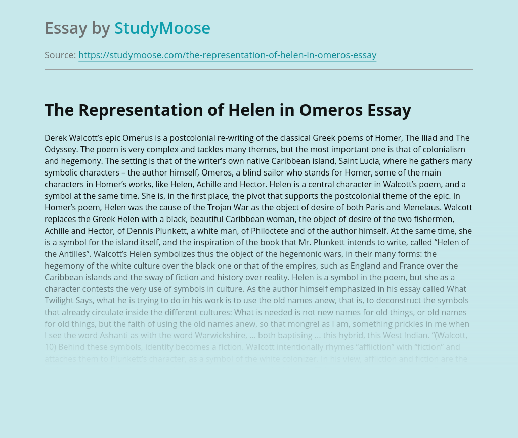 The Representation of Helen in Omeros