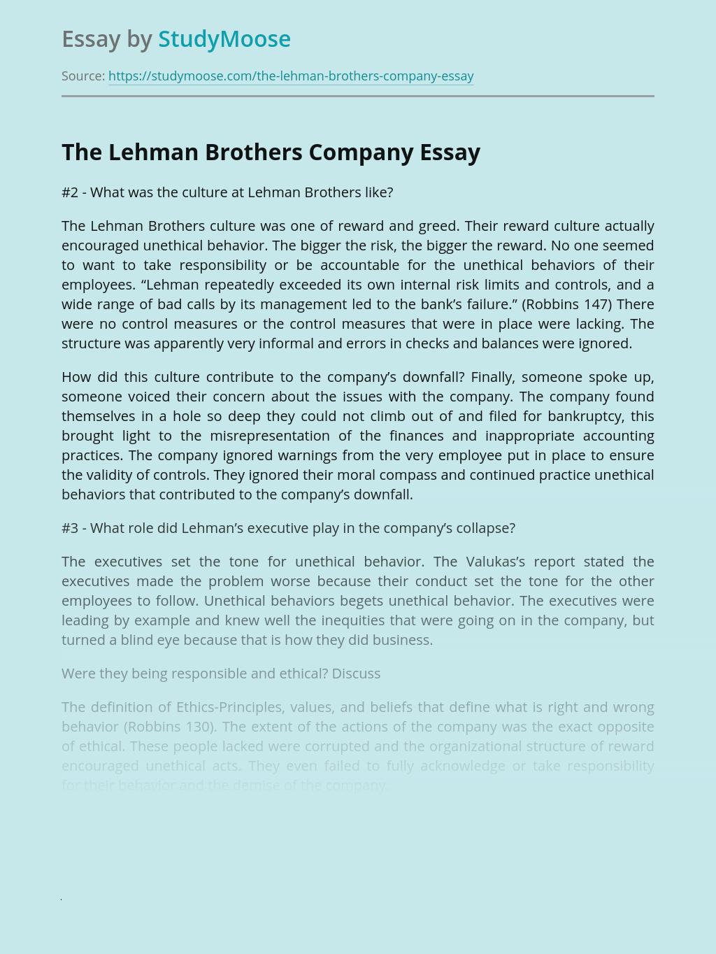 The Lehman Brothers Company