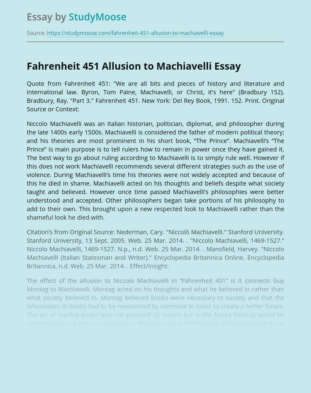 Fahrenheit 451 Allusion to Machiavelli