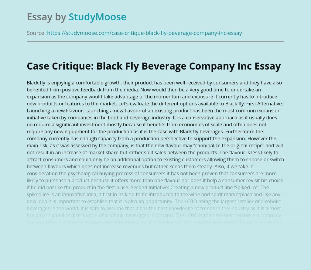 Case Critique: Black Fly Beverage Company Inc