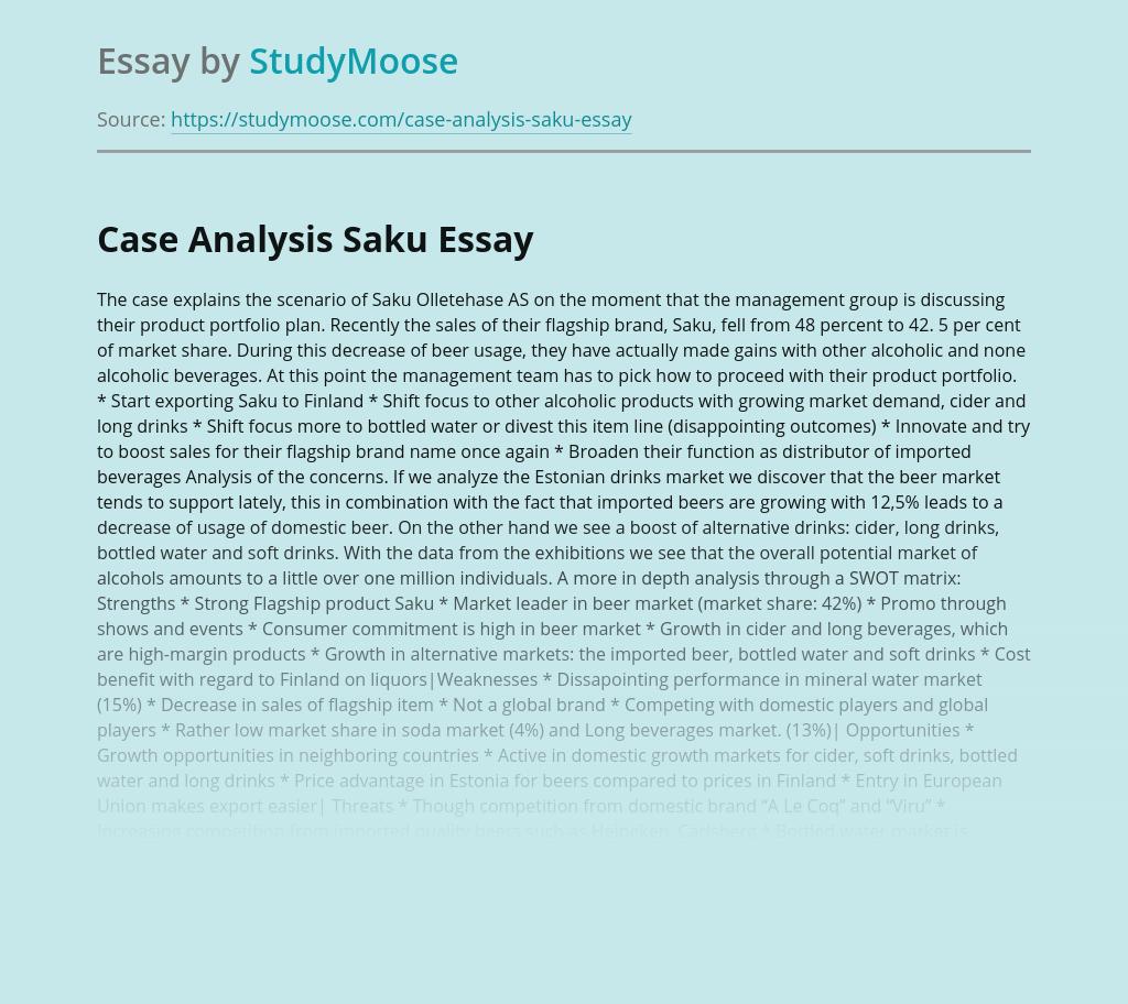 Case Analysis Saku Olletehase AS
