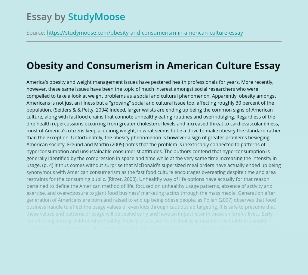 Obesity and Consumerism in American Culture