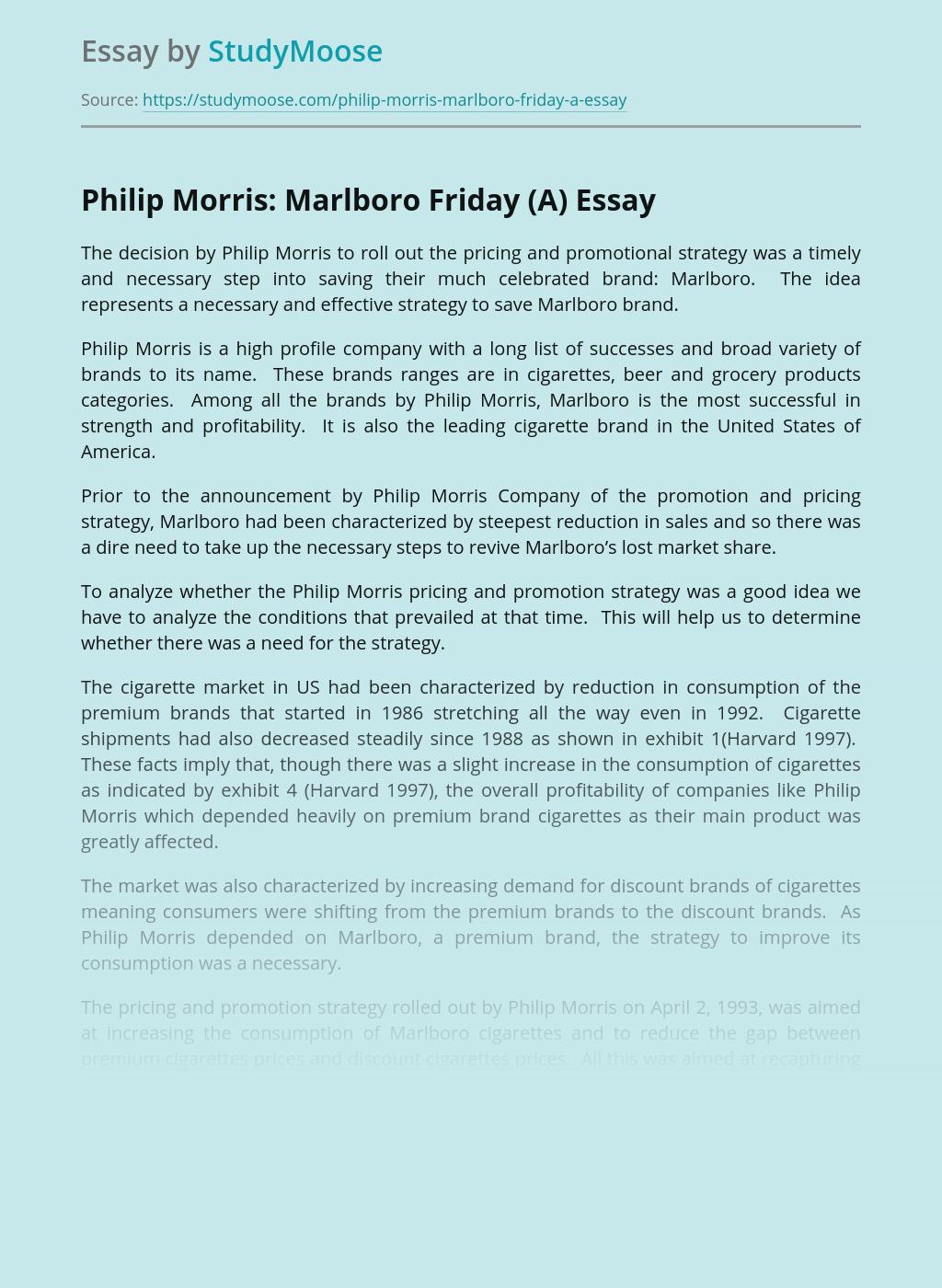 Philip Morris: Marlboro Friday (A)