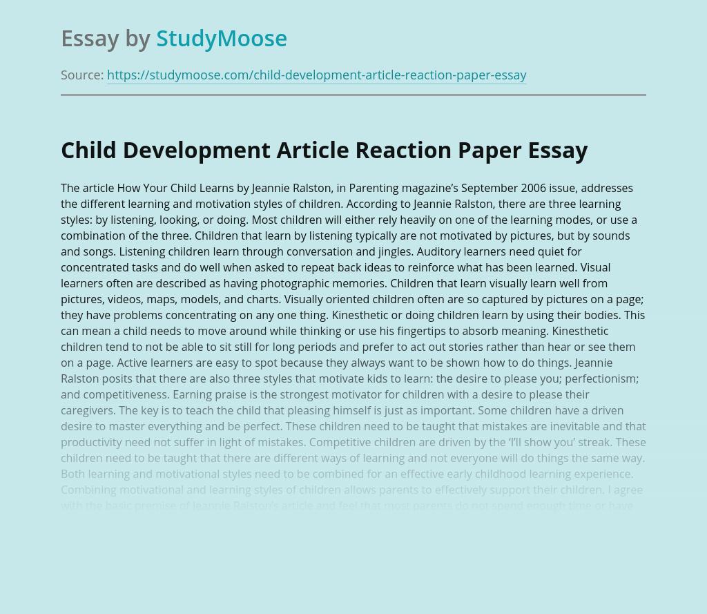 Child Development Article Reaction Paper