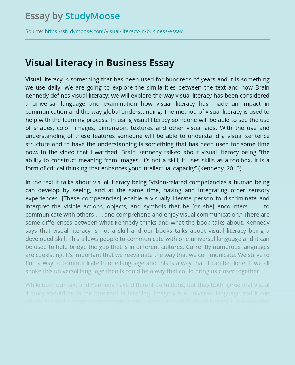 Visual Literacy in Business