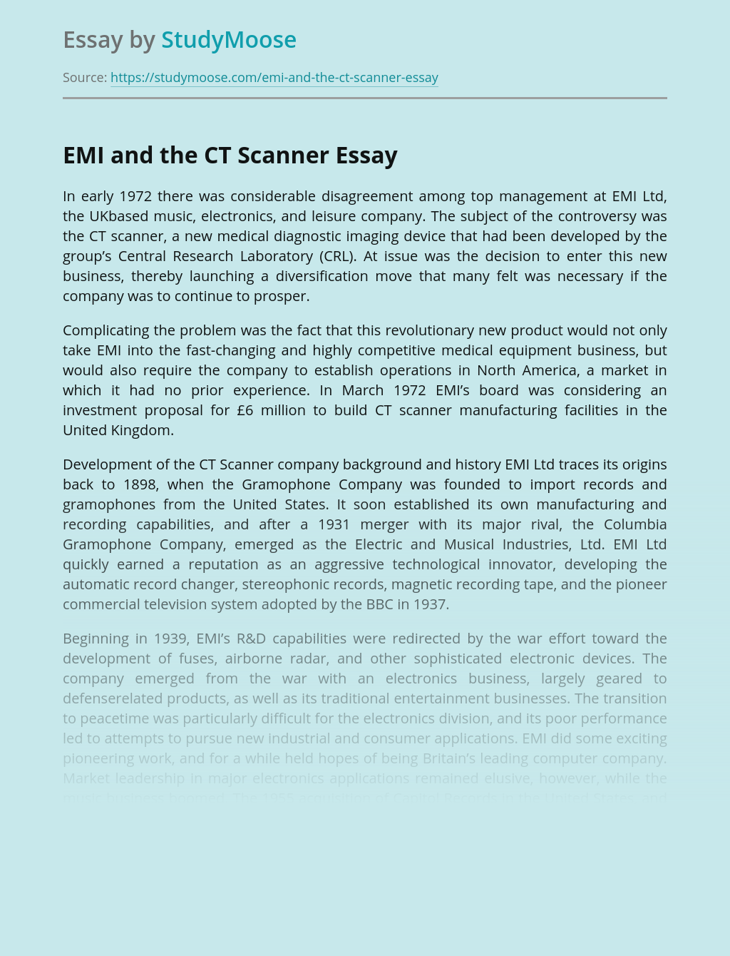 EMI and the CT Scanner Manufacturing