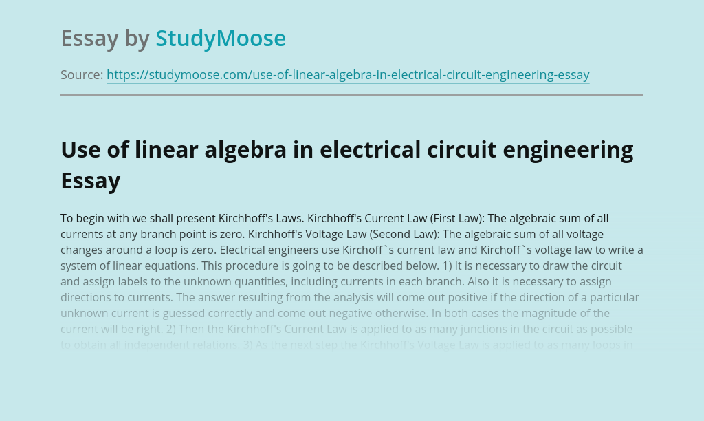 Use of linear algebra in electrical circuit engineering