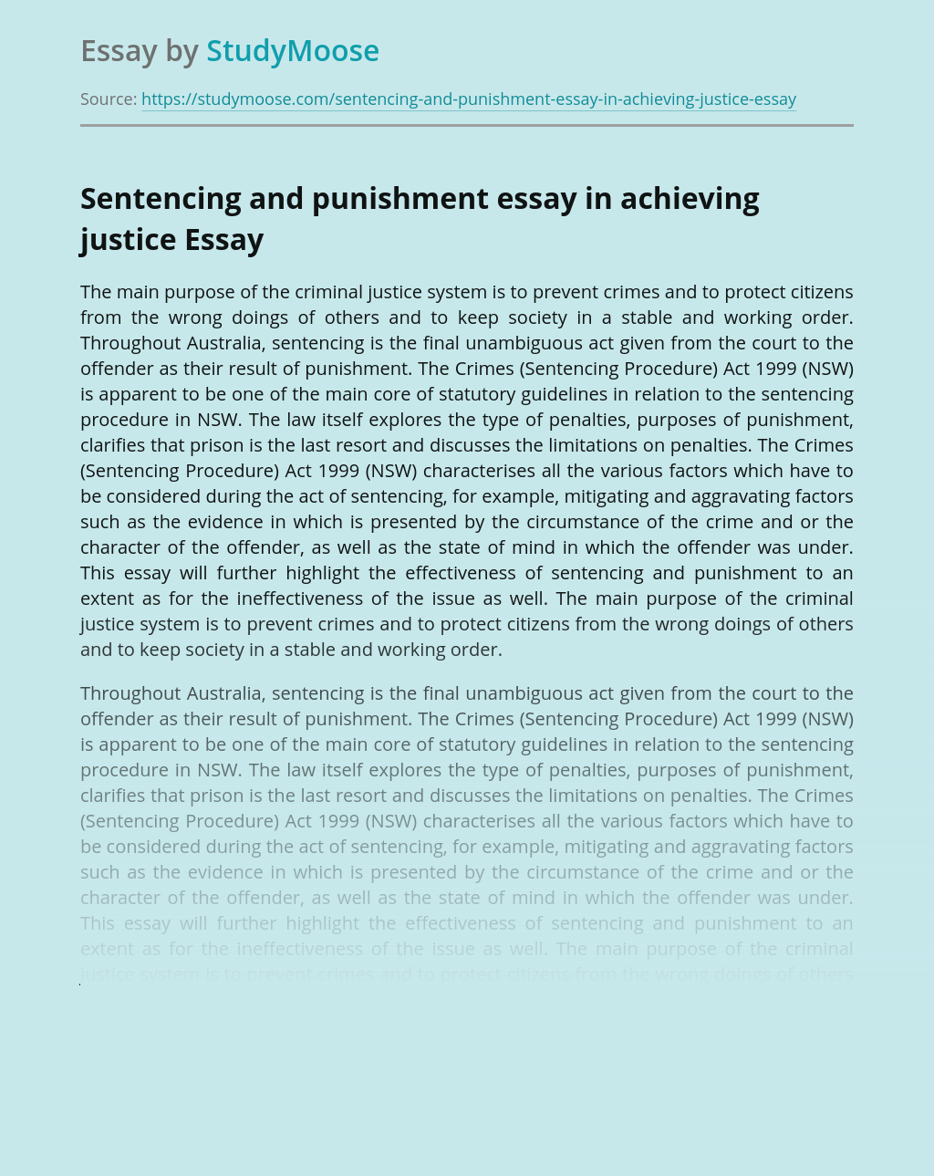 Sentencing and punishment essay in achieving justice