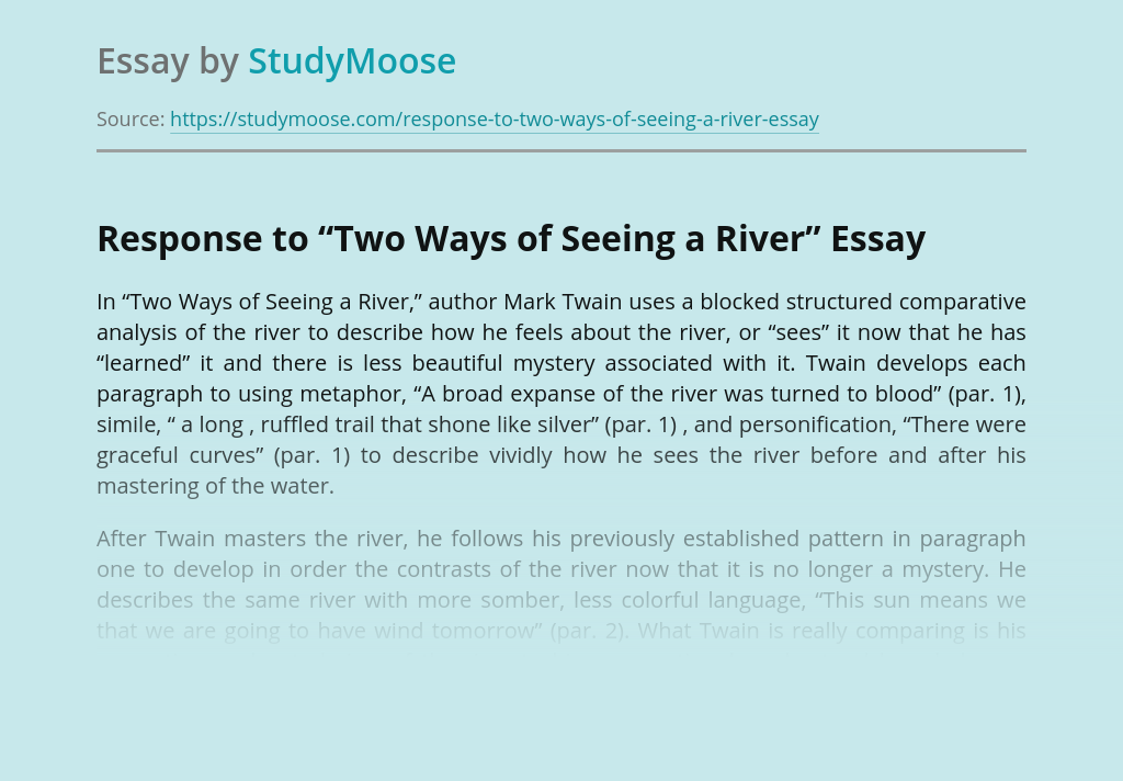 "Response to ""Two Ways of Seeing a River"""