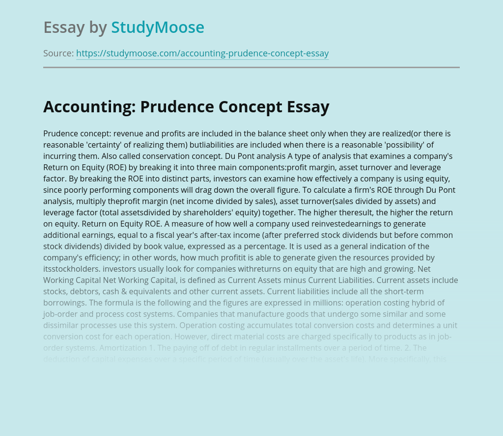 Accounting: Prudence Concept