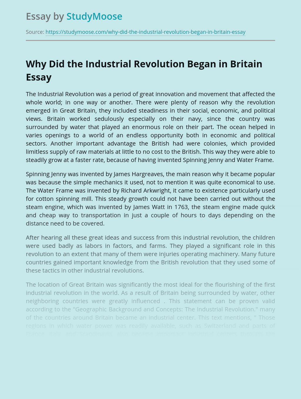 Why Did the Industrial Revolution Began in Britain