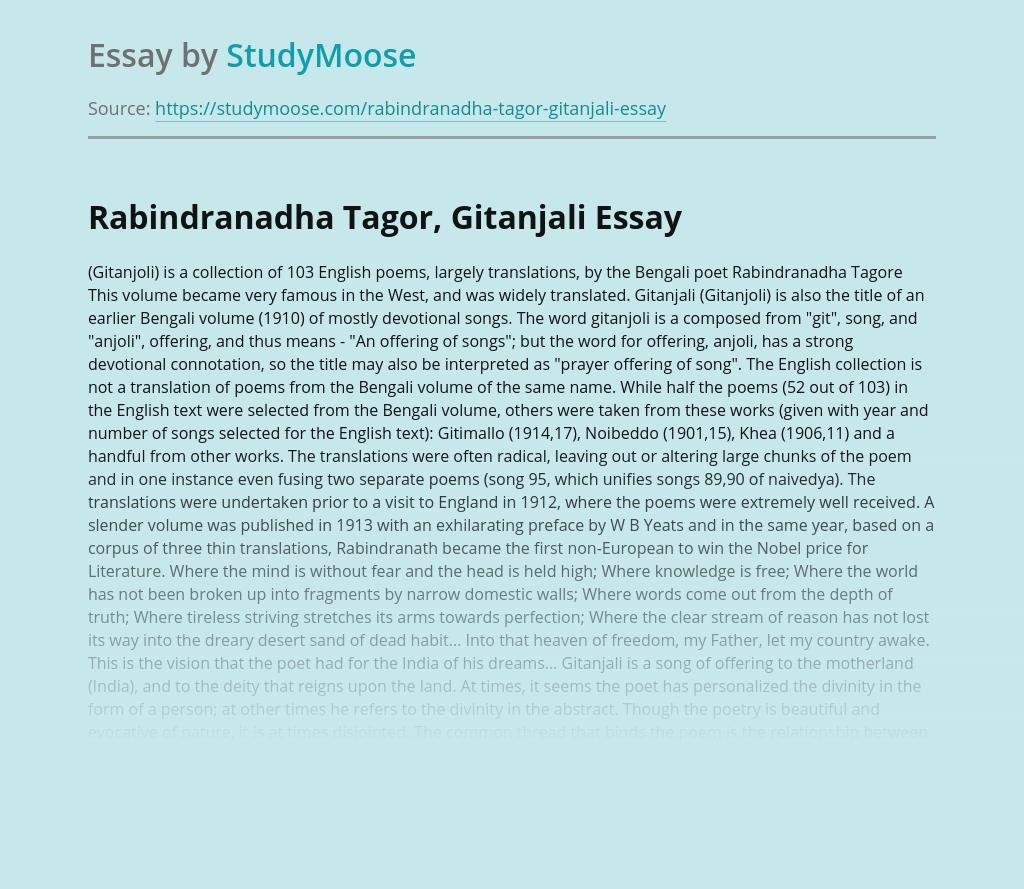 Rabindranadha Tagor, Gitanjali