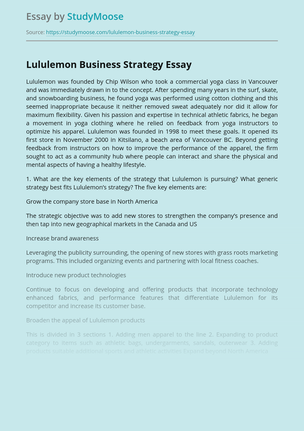 Lululemon Business Strategy