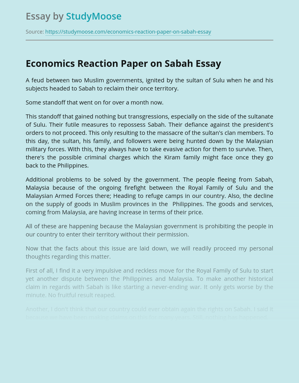 Economics Reaction Paper on Sabah