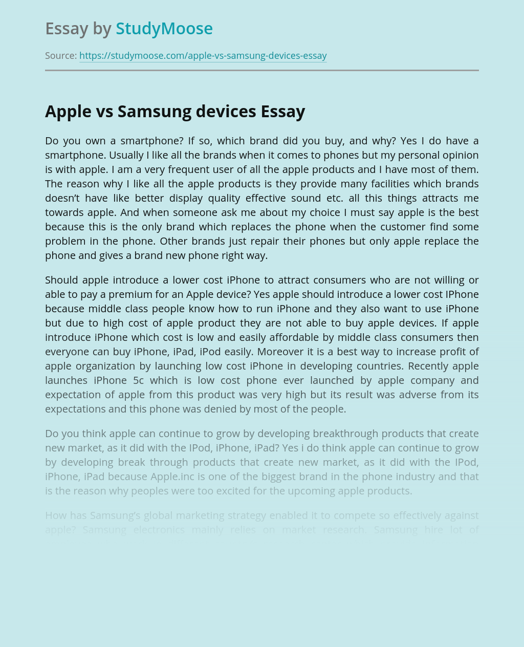 Apple vs Samsung devices