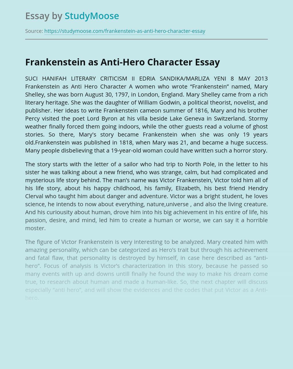 Frankenstein as Anti-Hero Character