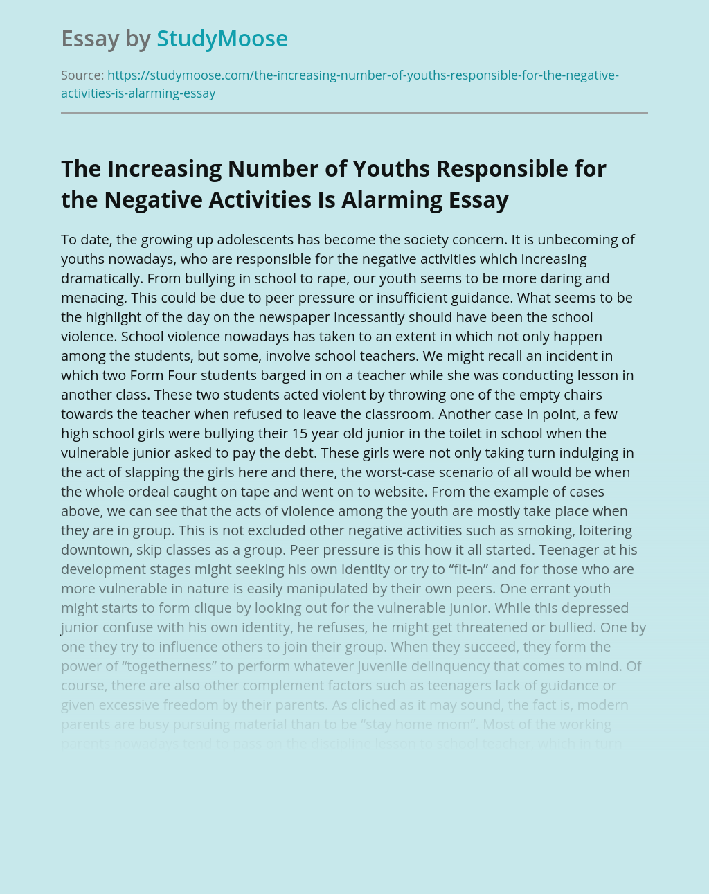 The Growing Up Adolescents Has Become The Society Concern