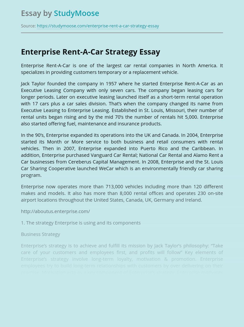 Enterprise Rent-A-Car Strategy