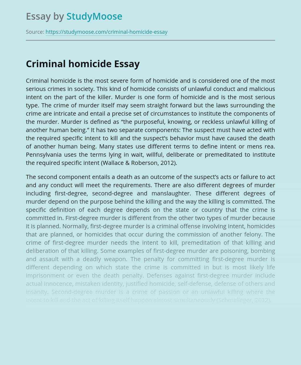 About Criminal Homicide In Society