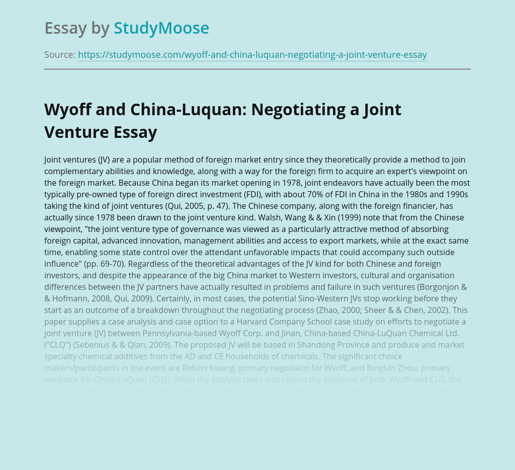 Wyoff and China-Luquan: Negotiating a Joint Venture