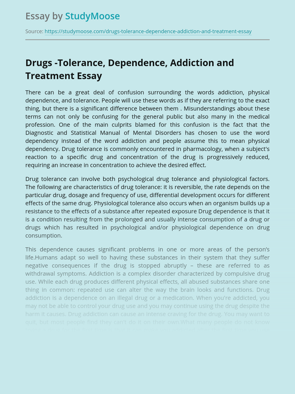 Drugs -Tolerance, Dependence, Addiction and Treatment