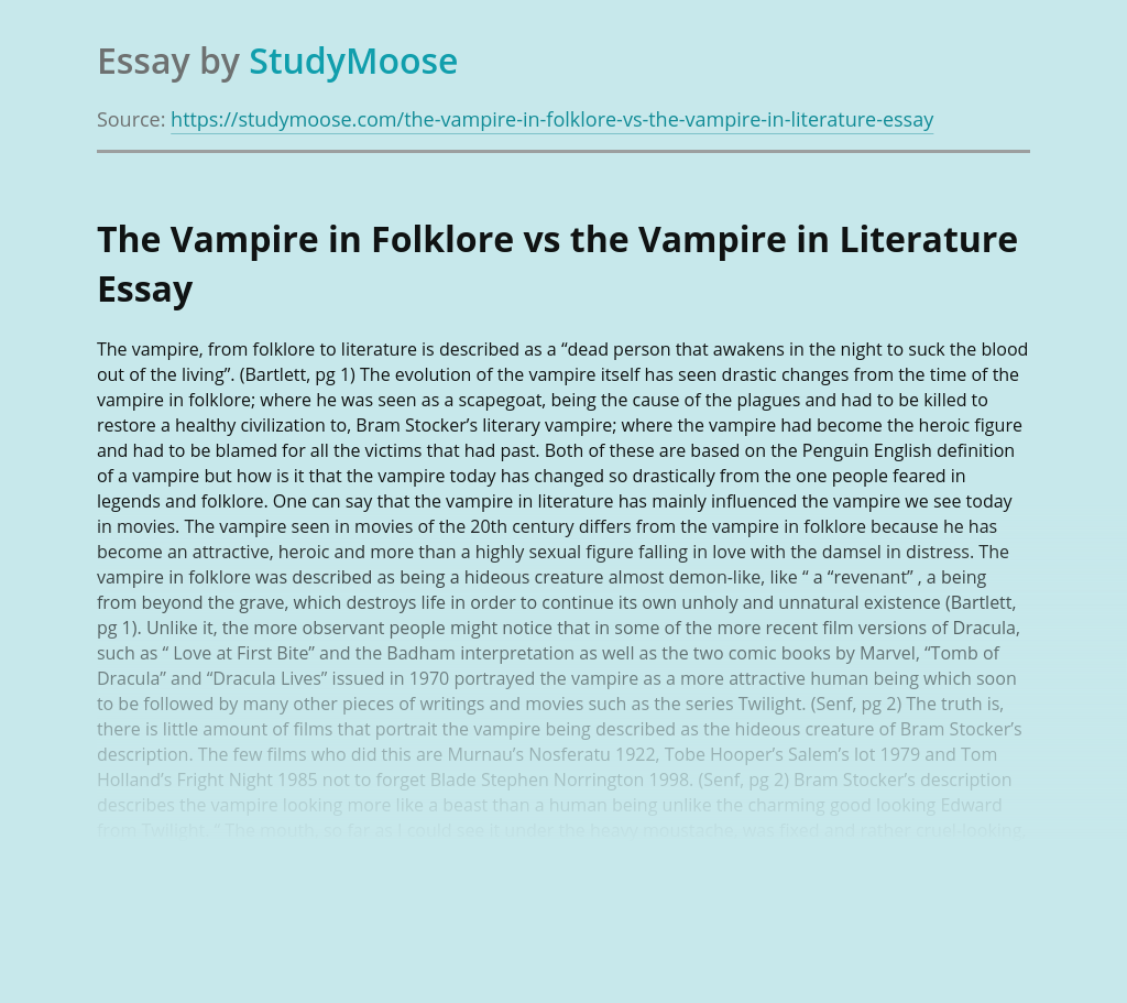 The Vampire in Folklore vs the Vampire in Literature