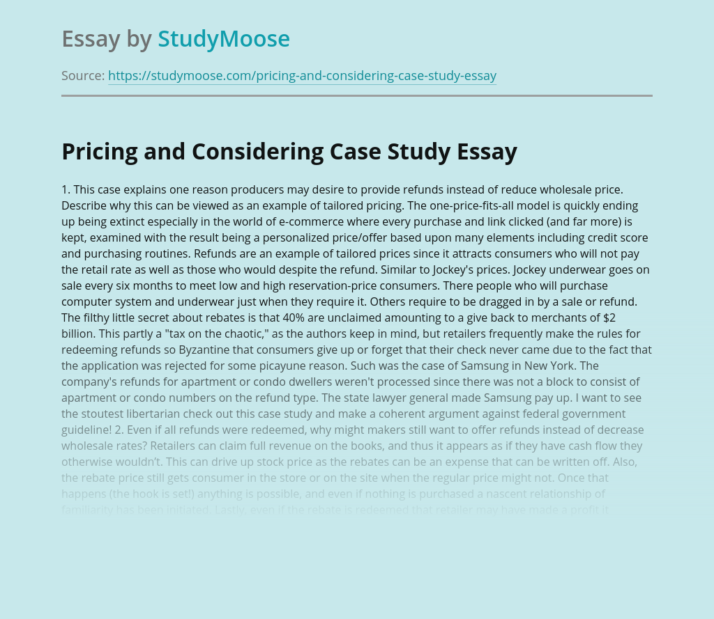 Pricing and Considering Case Study