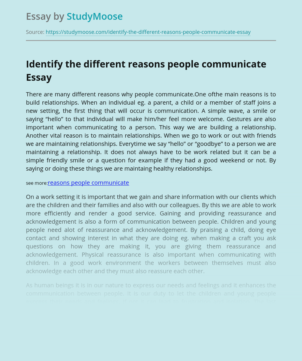Identify the different reasons people communicate