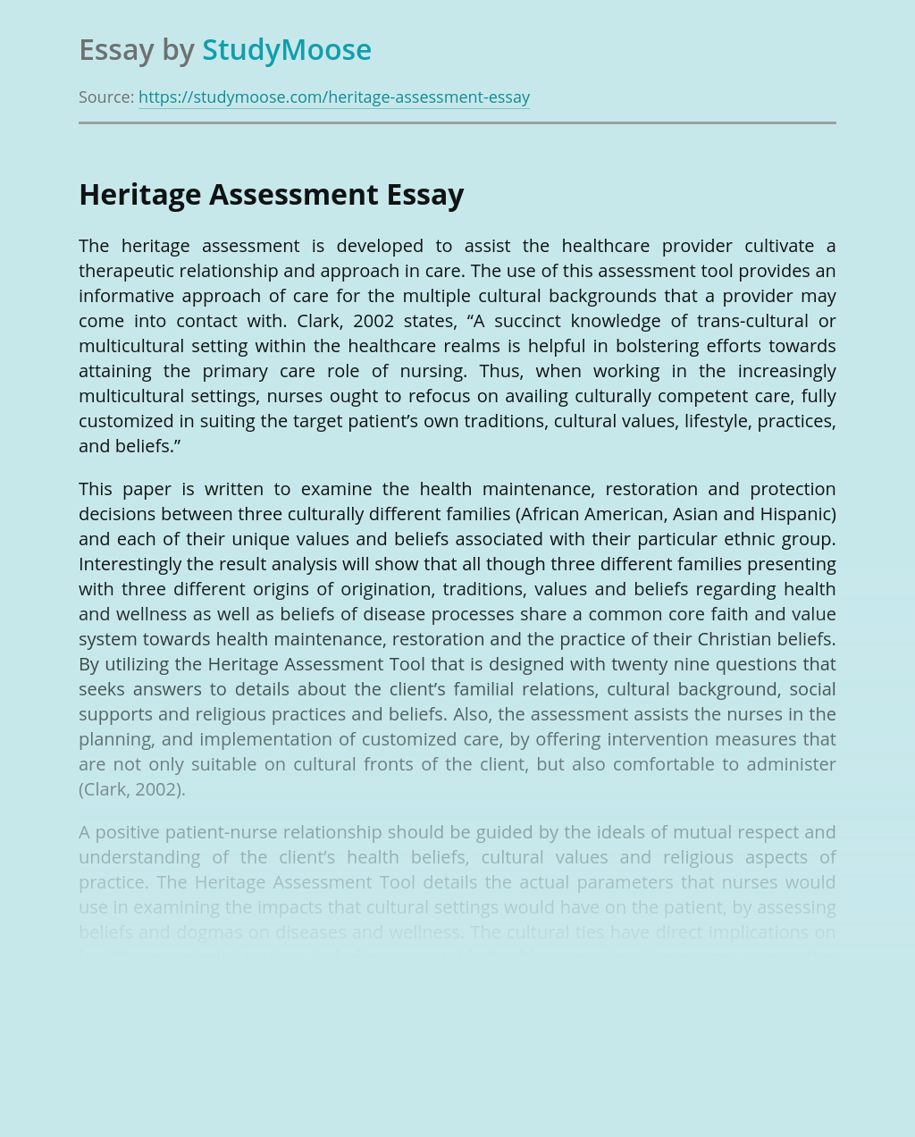 Heritage Assessment