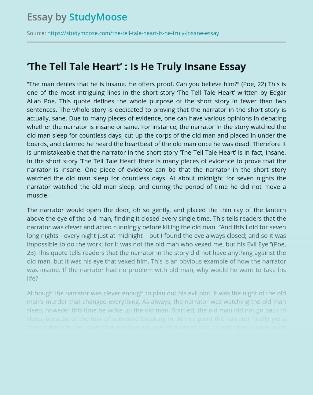 'The Tell Tale Heart' : Is He Truly Insane