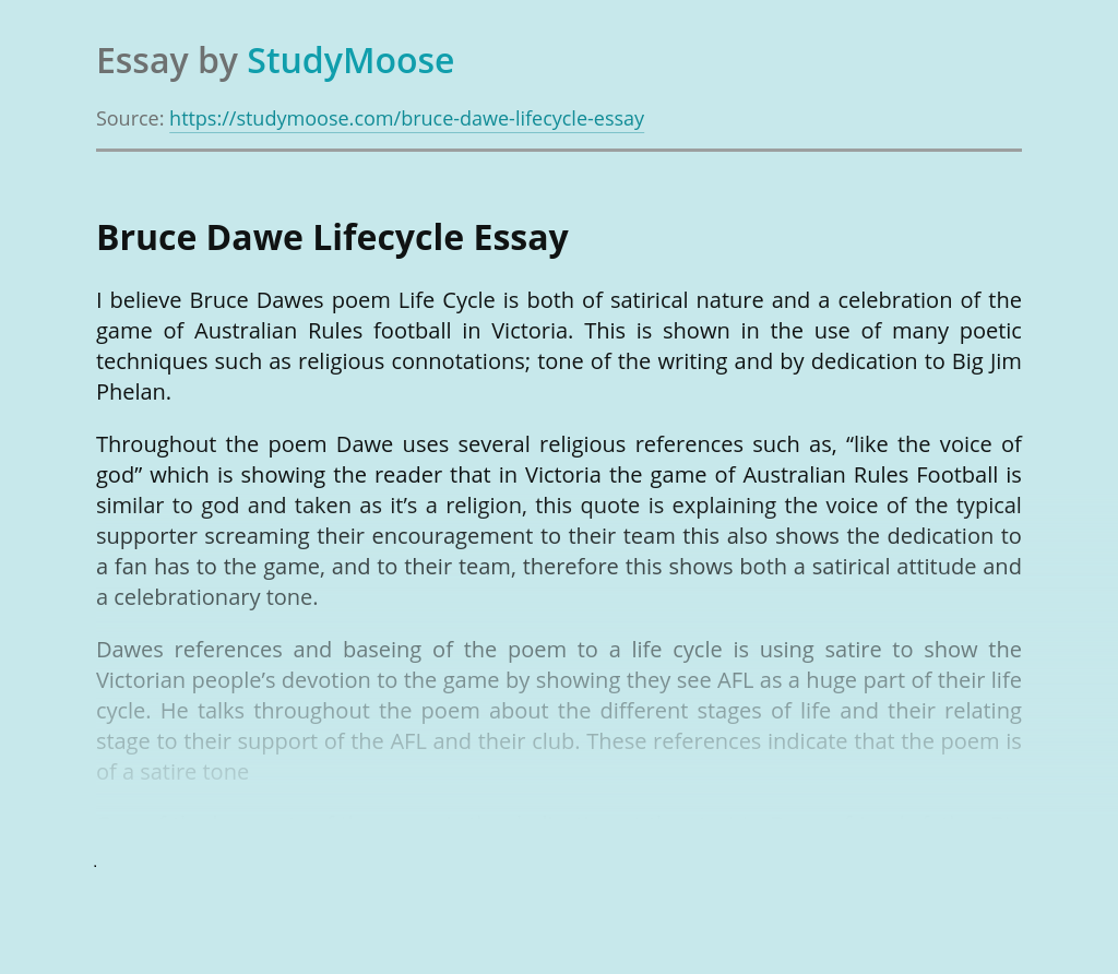 Bruce Dawe Lifecycle