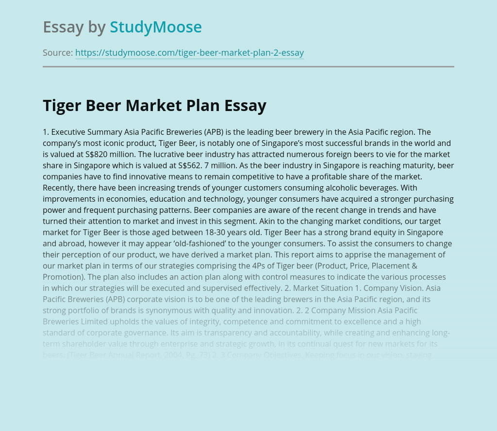 Tiger Beer Market Plan and Business Analysis