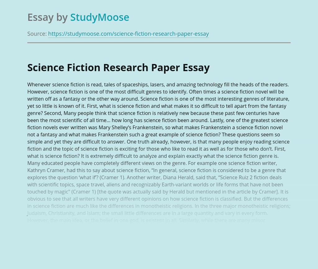 Science Fiction Research Paper