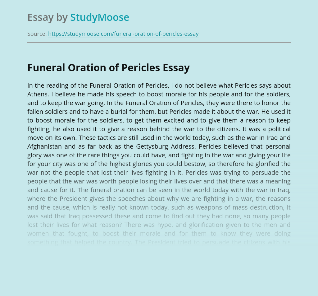 Soldiers and War in Funeral Oration of Pericles