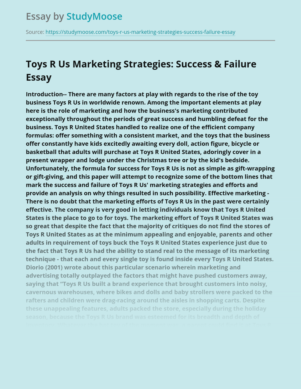Toys R Us Marketing Strategies: Success & Failure