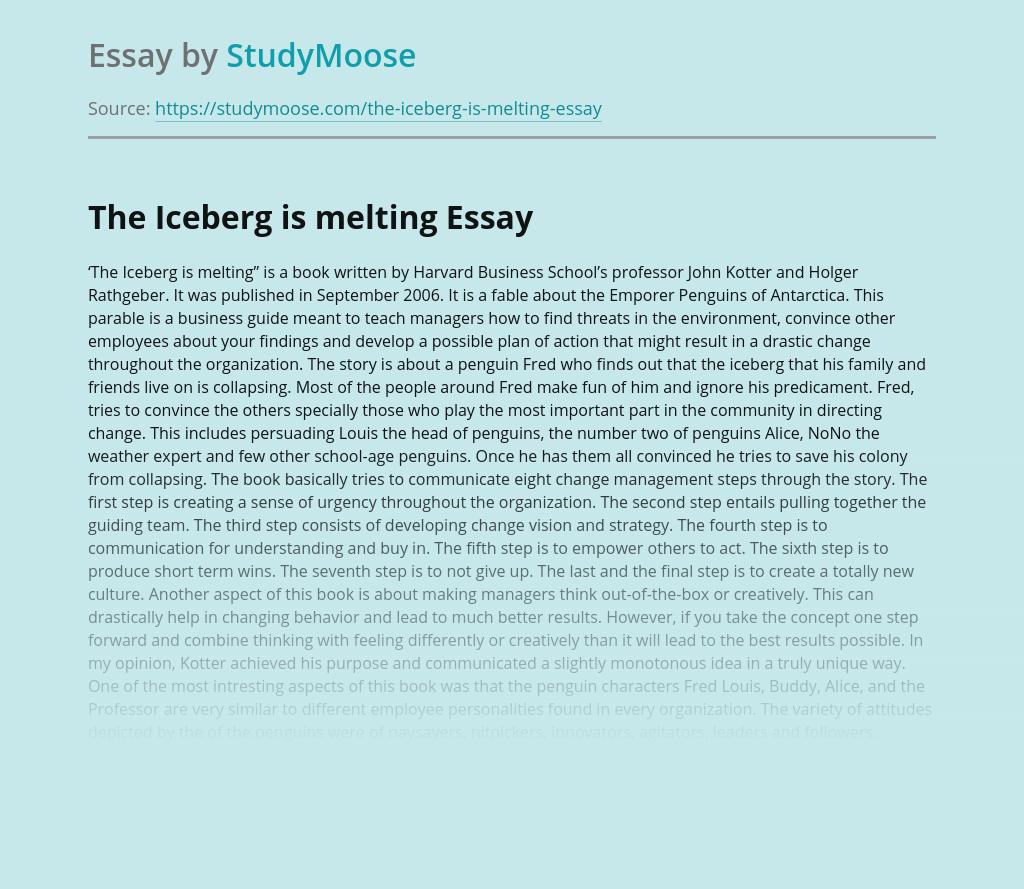 """""""The Iceberg is Melting"""" by John Kotter and Holger Rathgeber"""
