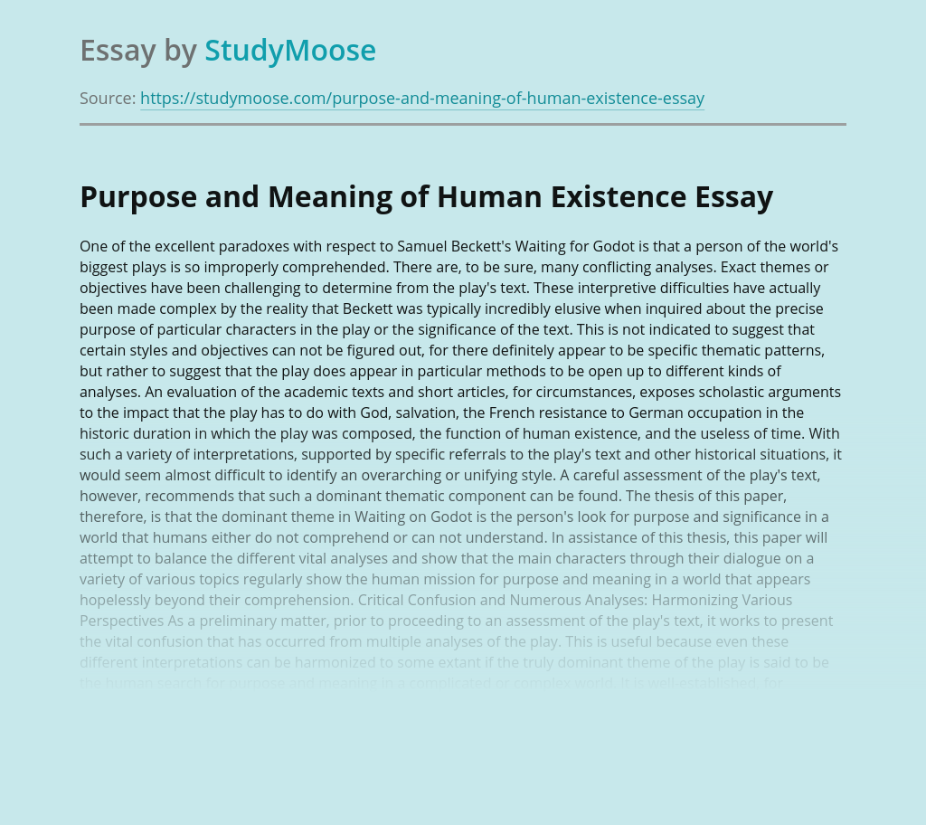 Purpose and Meaning of Human Existence