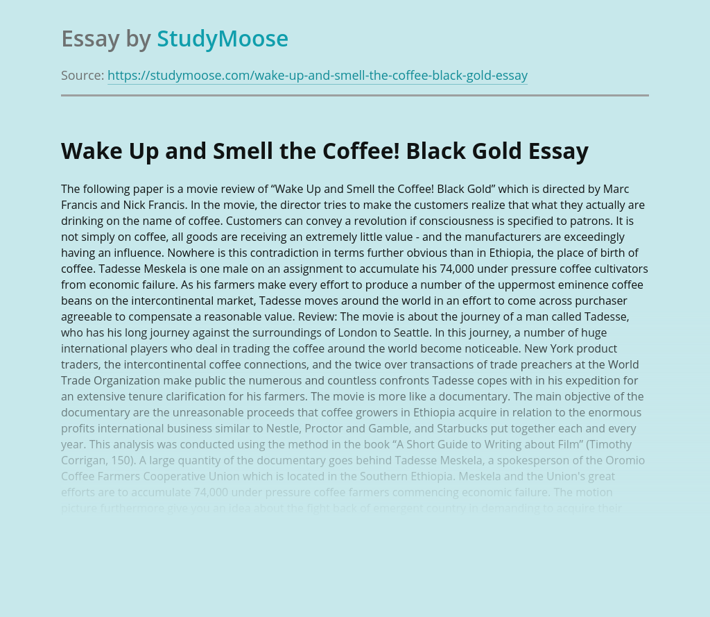 Wake Up and Smell the Coffee! Black Gold
