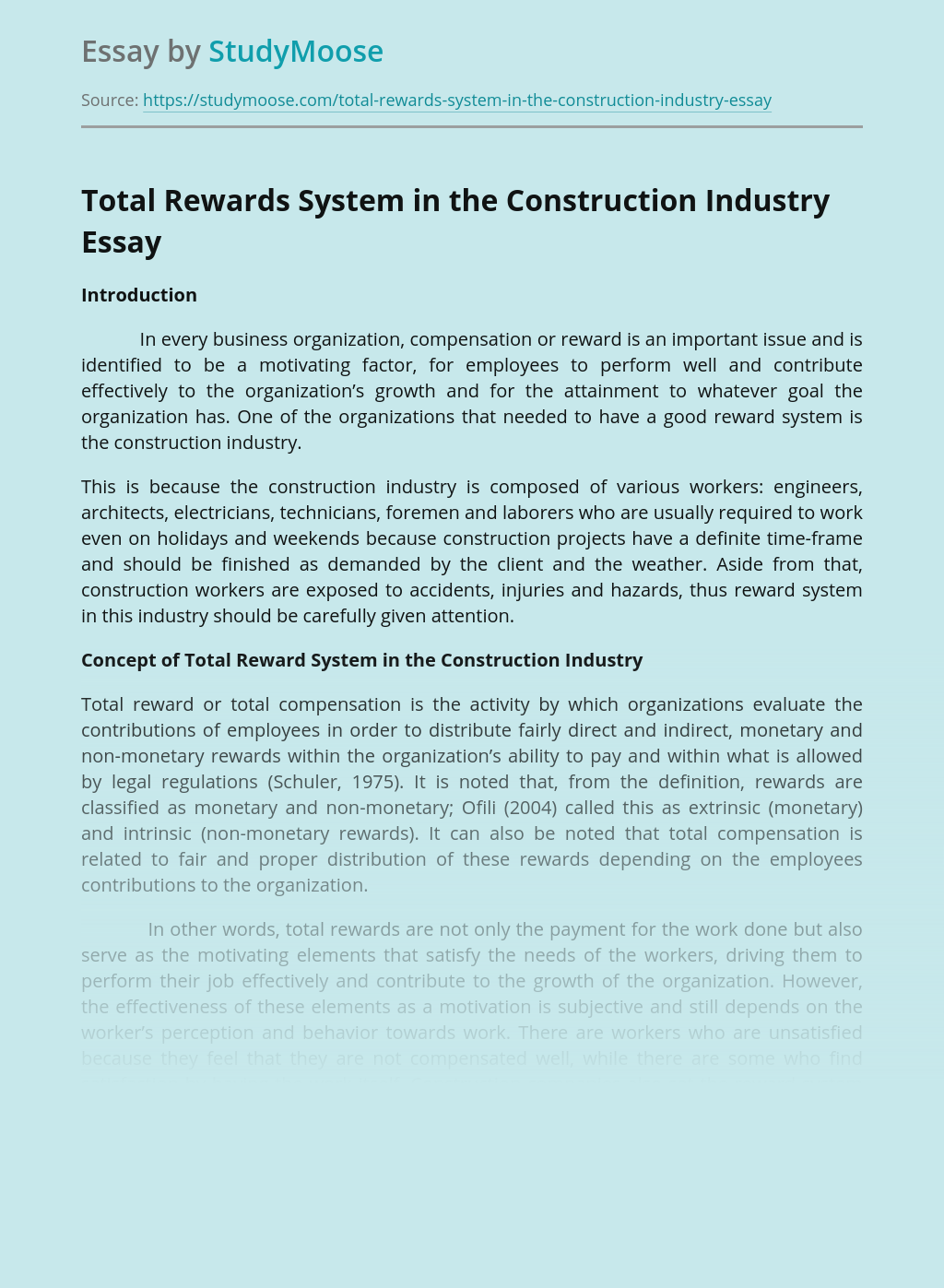 Total Rewards System in the Construction Industry