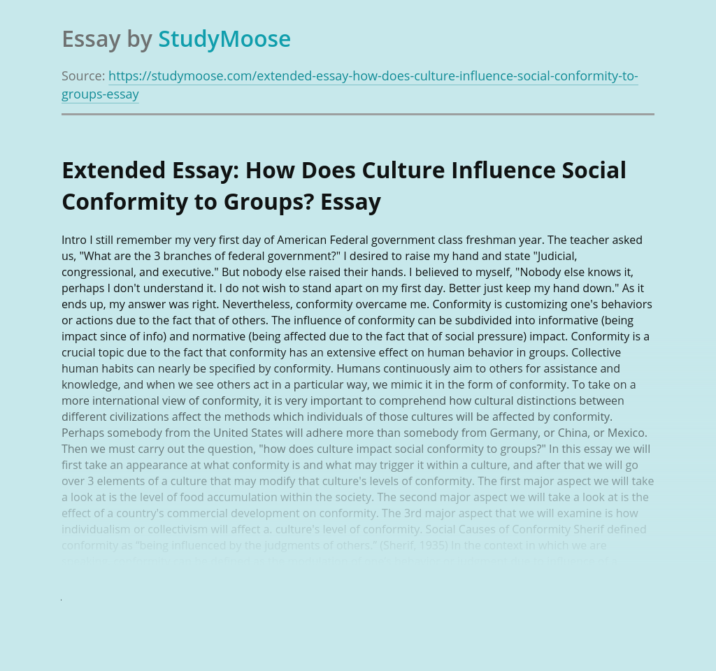 Extended Essay: How Does Culture Influence Social Conformity to Groups?