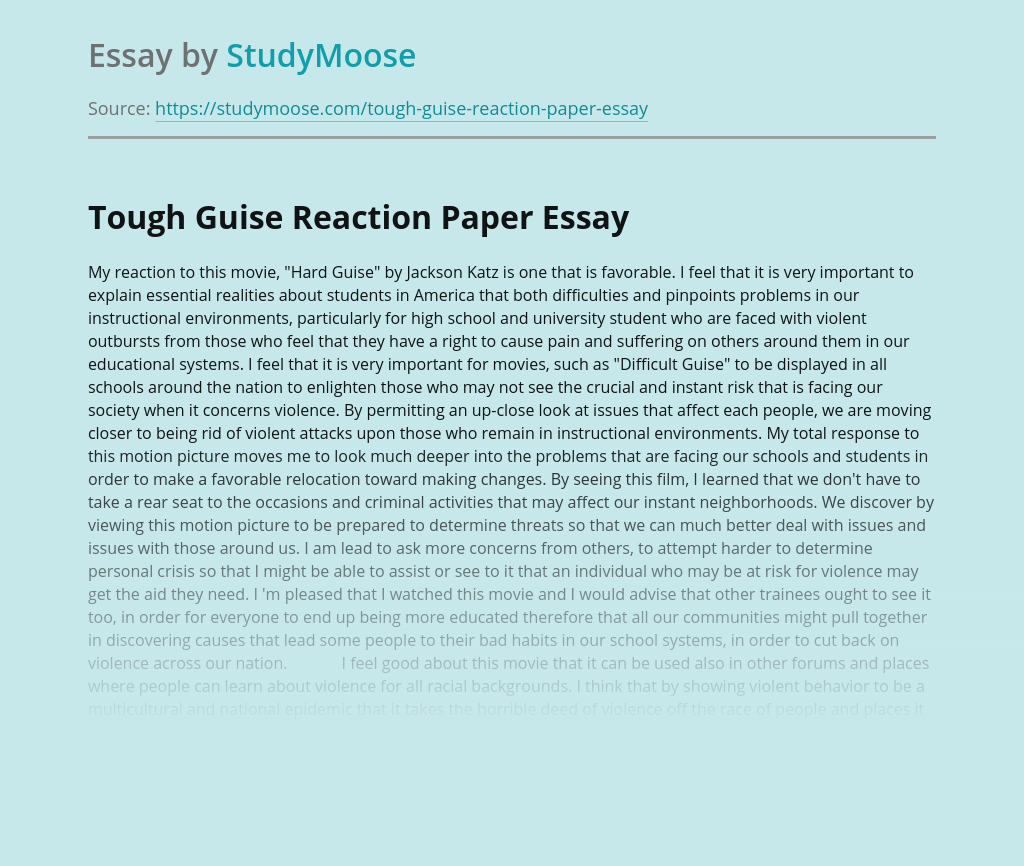 Hard Guise Movie Reaction Paper