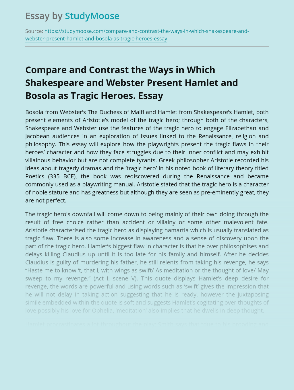 Compare and Contrast the Ways in Which Shakespeare and Webster Present Hamlet and Bosola as Tragic Heroes.