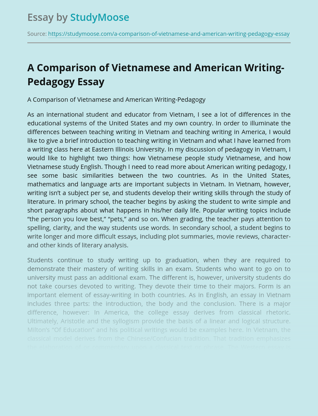 A Comparison of Vietnamese and American Writing-Pedagogy