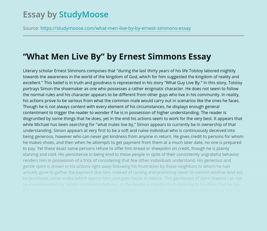 What Men Live By Story Analysis