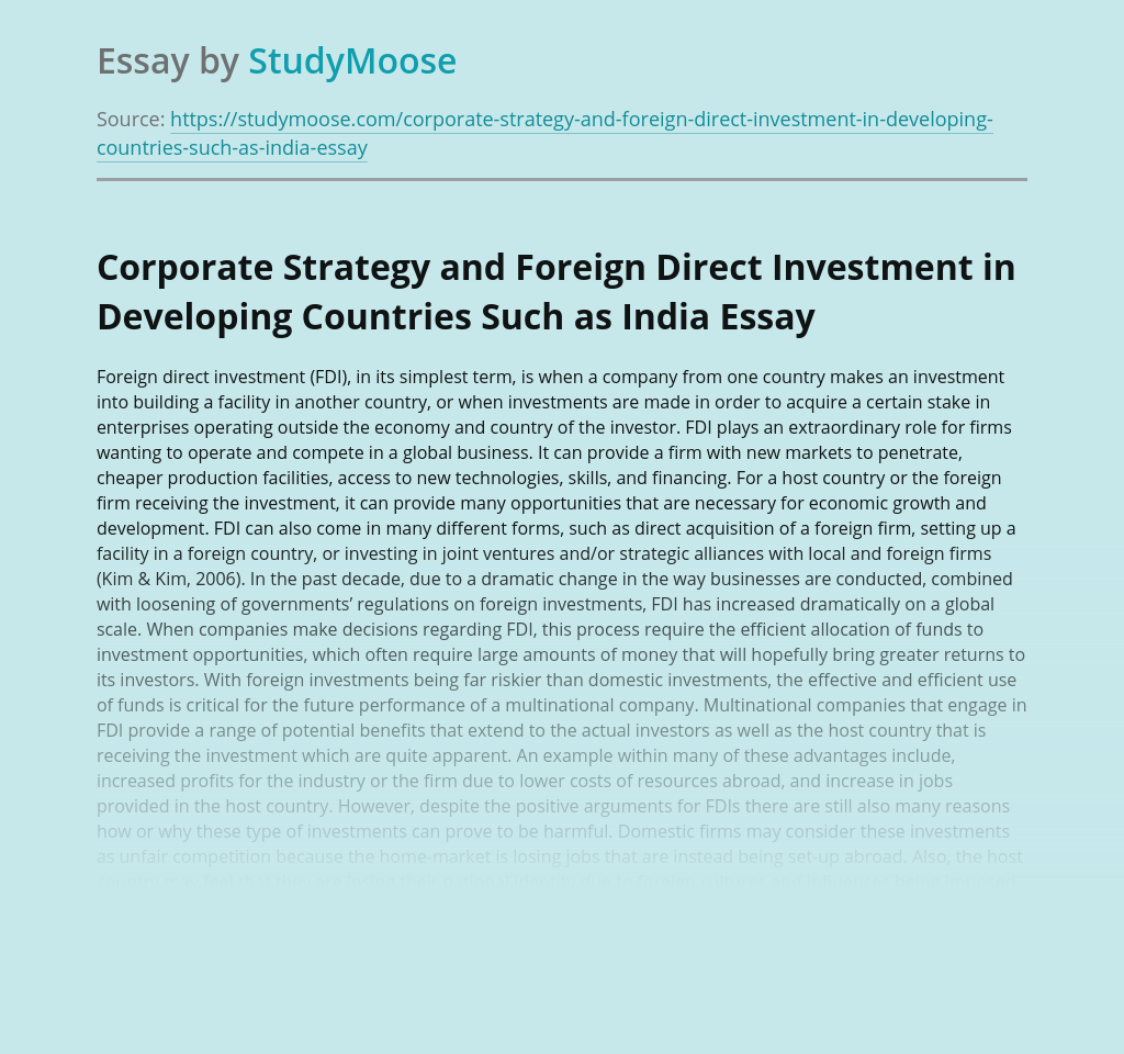 Corporate Strategy and Foreign Direct Investment in Developing Countries Such as India
