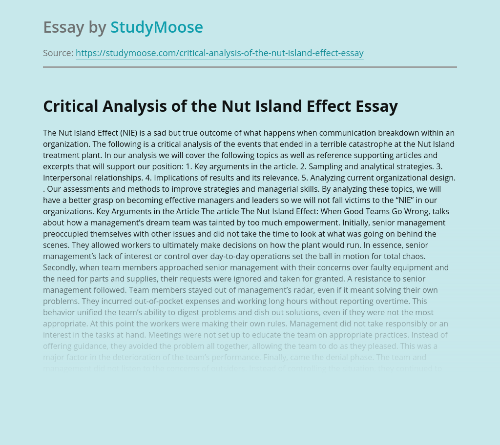 Critical Analysis of the Nut Island Effect