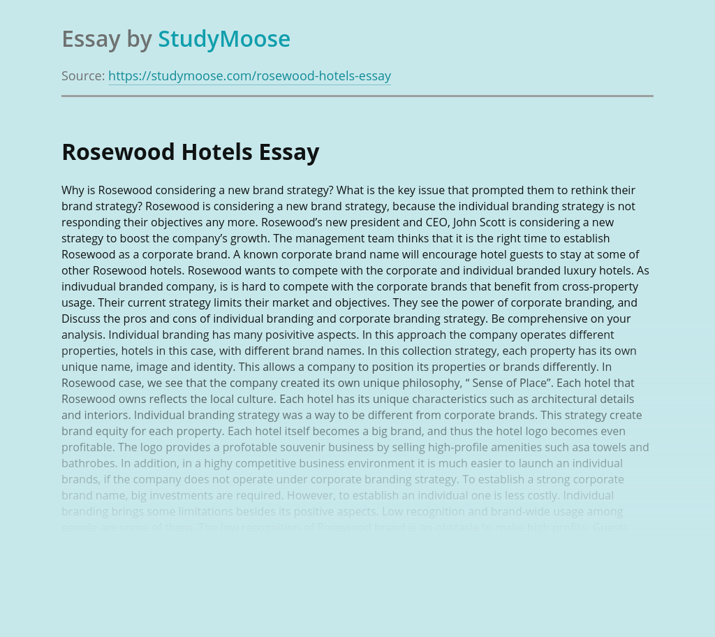 Rosewood Hotels Brand Strategy