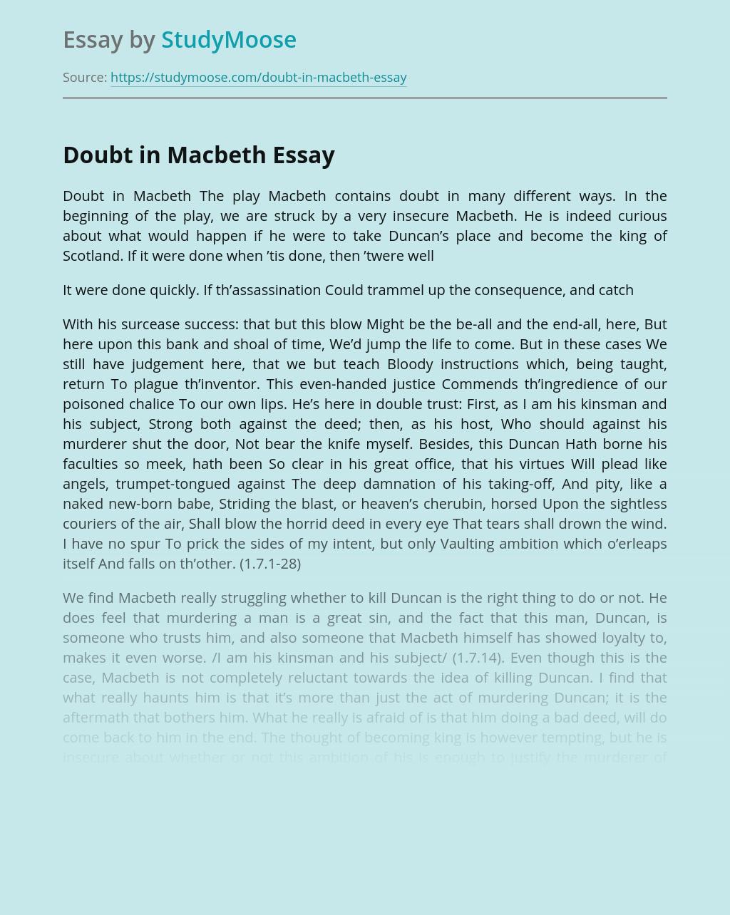 Doubt in Macbeth