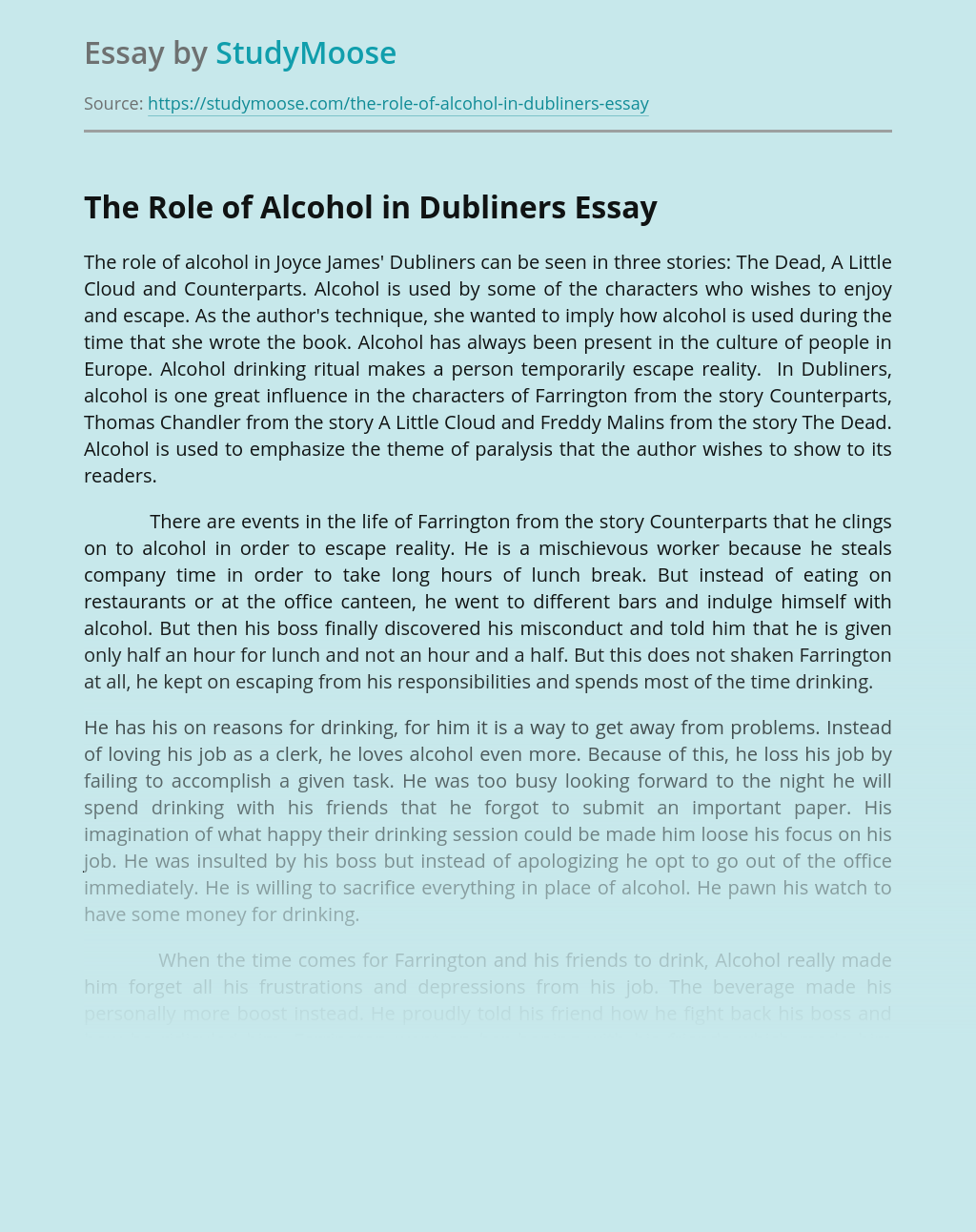 The Role of Alcohol in Dubliners